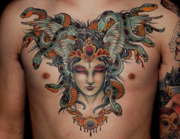 snake Chest Tattoos