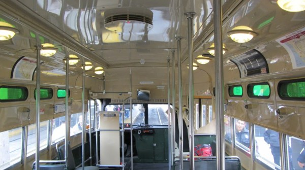 Inside of the trolley, facing the front.