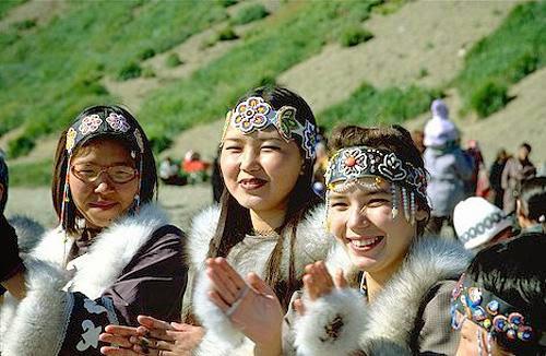 "Some pretty modern-day Chukchi girls. Fur is definitely ""in"" on the Chukchi peninsula."