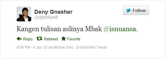 Tweet-nya Deny Setiyadi