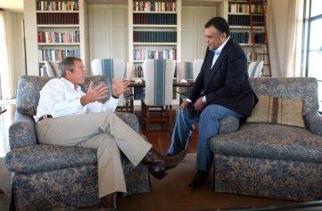 President George W. Bush meets with Saudi Arabian ambassador Prince Bandar bin Sultan at the Bush Ranch in Crawford, Texas, Tuesday, Aug. 27, 2002 White House Photo by Eric Draper