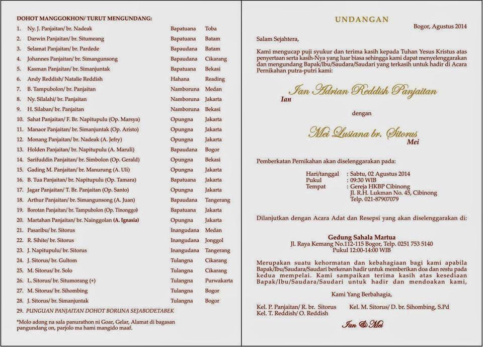 Contoh Surat Undangan Pernikahan Batak Toba Suratmenyurat Net