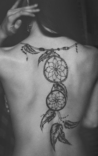 upper back Dreamcatcher Tattoos designs for girls