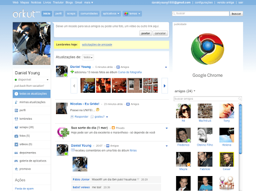 Nova interface do Orkut