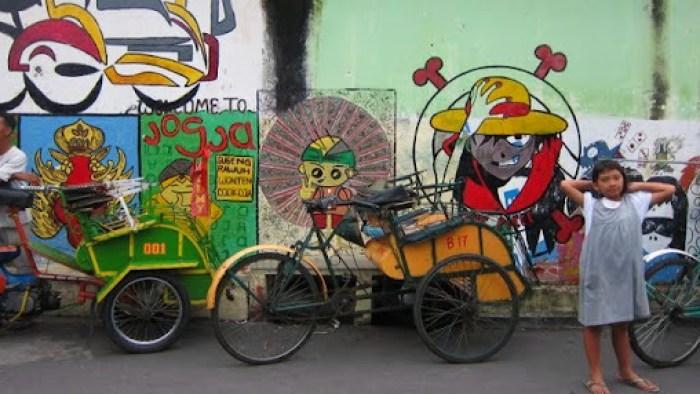 Colorful becaks in Yogyakarta