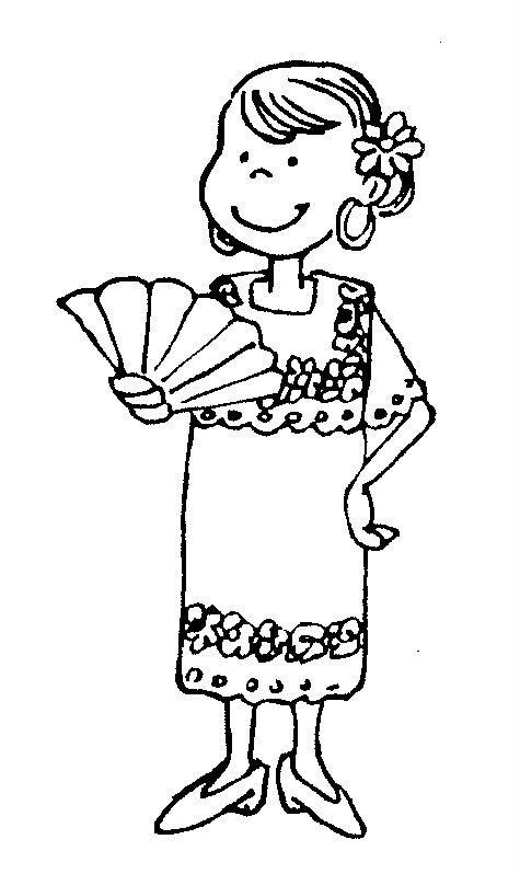 pinto dibujos vestuario de yucatán para colorear