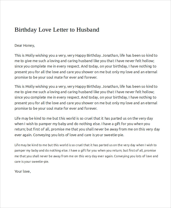 Birthday Letter To Your Love Fredts