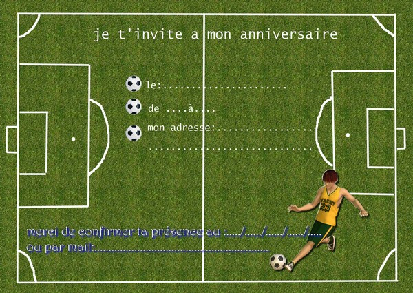 carte d invitation anniversaire de foot