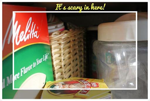 kitchen pantry clutterd mess