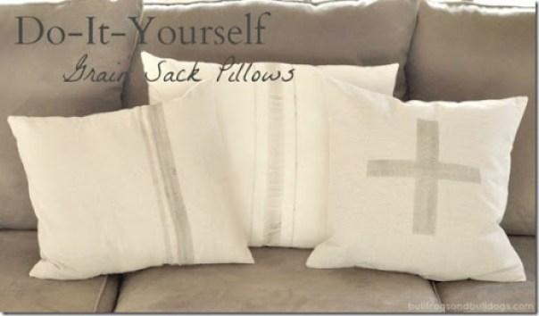 DIY Faux Grain Sack Pillows