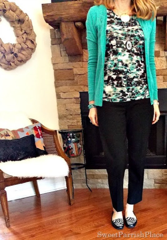 Black ankle pants, Tiered Floral tank, turquoise cardigan with zebra flats2