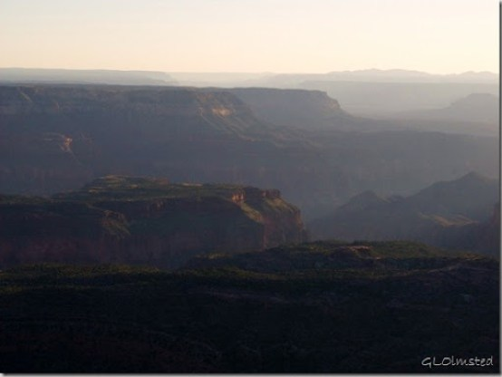 View west in last light from Fence Point Kaibab National Forest Arizona