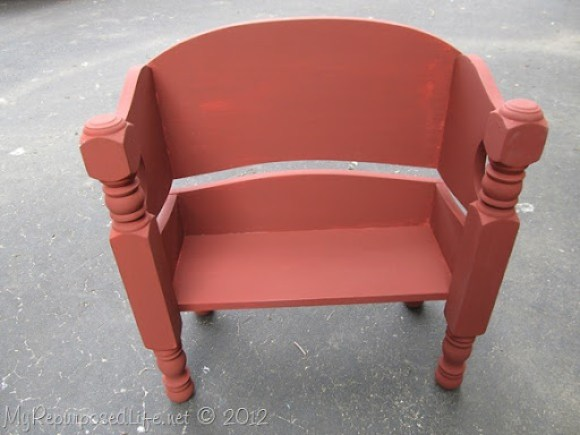 Toddler-Doll bench made from bed