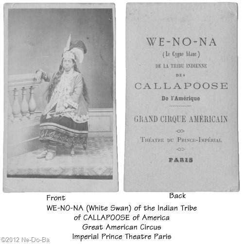 We-no-na in Paris with the American Circus c1867 (front & back)