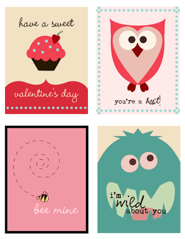 Printable Valentine Cards from Pumpkins and Posies