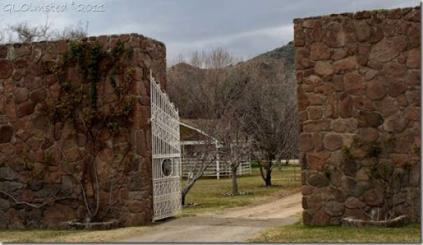 Entrance gate to TK Bar Ranch Wagner Road Arizona