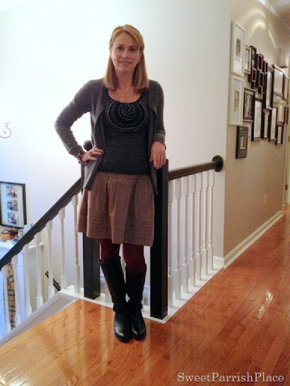 wine colored tights with grey, black and brown