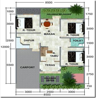Denah Rumah Minimalis 3 Kamar Tidur 12 x 8,5 m | Desain Rumah