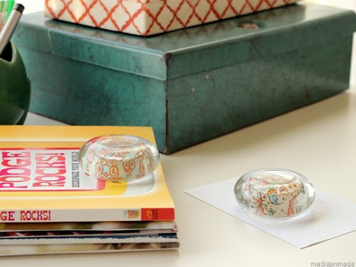 diy decoupaged paper weight from a candle holder