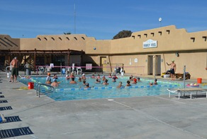 mid day volleyball at the upper pool at Catalina Spa and RV Resort Desert Hot Springs, CA