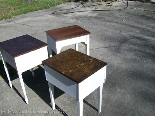 a trio of sewing machine cabinets get a makeover