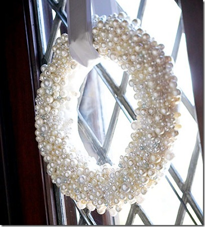 Winter wreath--winter wreath made from craft store pearl strands