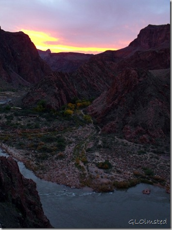 Sunset over North Rim and Phantom Ranch from South Kaibab trail Grand Canyon National Park Arizona
