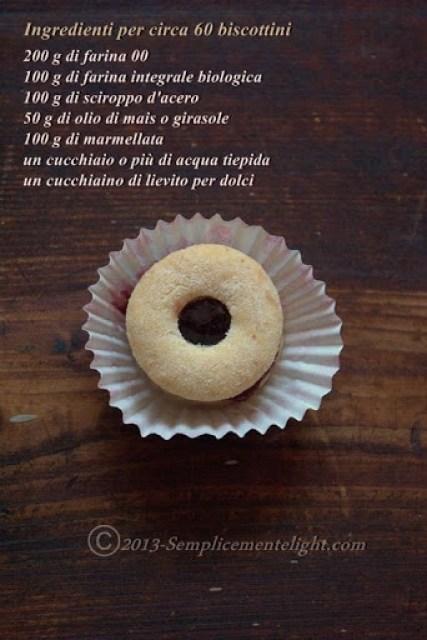 Biscottini semintegrali con sciroppo d'acero ,senza burro,senza uova e senza latte