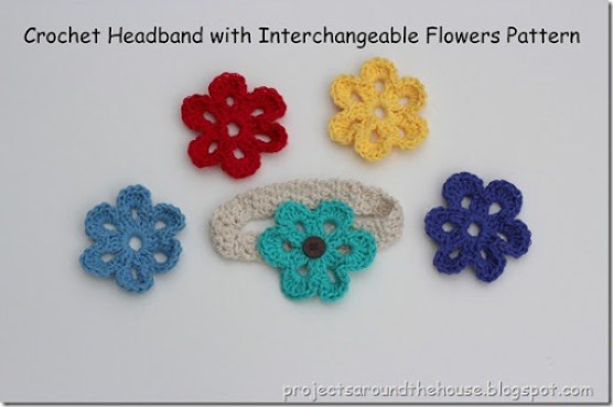 Crochet Headband With Interchangeable Flowers Pattern Renewed