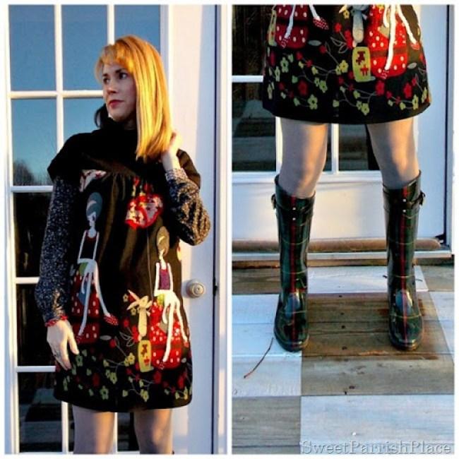 Lady tunic dress rain boots3