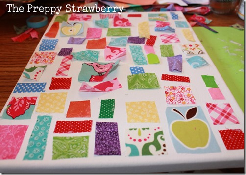 No Sew Quilt Wall Art {The Preppy Strawberry}