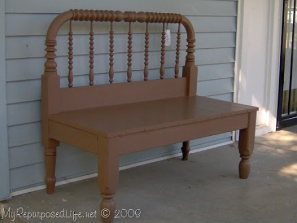 twin spool bed upcyled into a bench