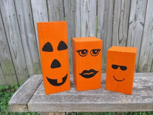 4x4 repurposed jack-o-lantern halloween decorations