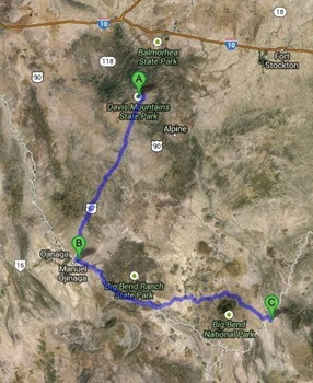 map to big bend 197 miles