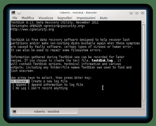 TestDisk su KDE- Linux