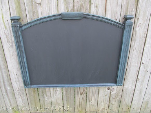 repurposed headboard chalkboard