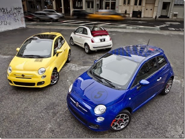 "2012 Fiat 500 Sport models with ""Barcode"" decal (left) and ""Checker"" decal (right), and 2012 Fiat 500c with bodyside stripe"