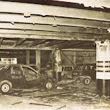 Damaged parked cars on the ground floor