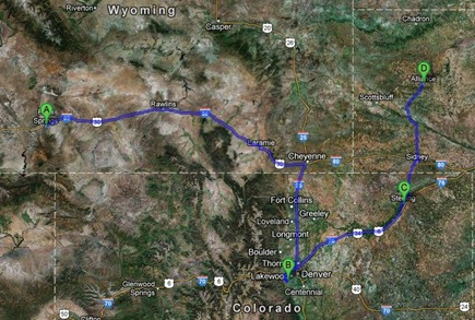Map Rock Springs to Alliance Nebraska