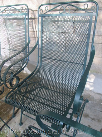 green wrought iron pation furniture