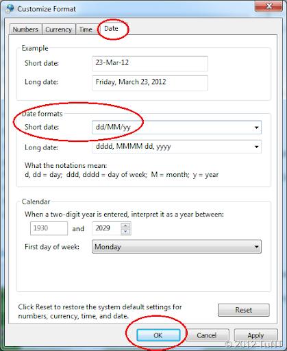 Change short date format