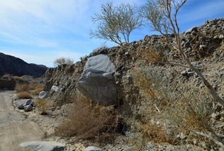 I loved this boulder sticking out of the smaller alluvium in Berdoo Canyon