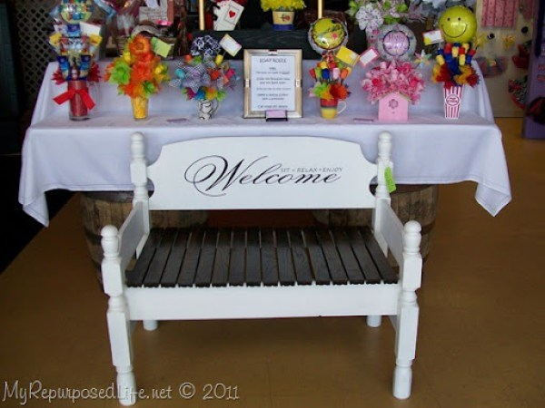 Welcome sit relax enjoy stenciled twin headboard bench