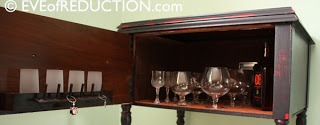 DIY bar cart from sewing cabinet