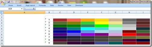 Denali SSRS colour matrix xlsx format