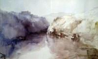 Reflejos en el río, acuarela de Francisco Castro