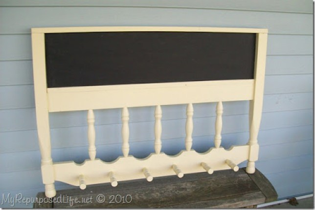 repurposed headboard coat rack