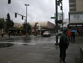 rainy day in downtown Anchorage