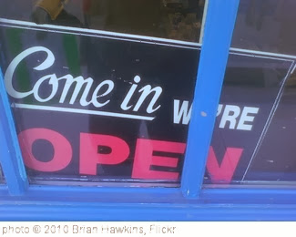 'Open Sign' photo (c) 2010, Brian Hawkins - license: http://creativecommons.org/licenses/by/2.0/