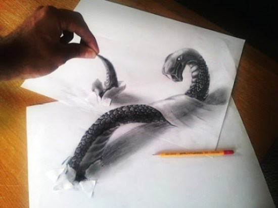 serpiente dibujo anamórfico monstruo